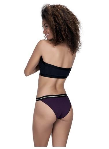 Cottonhill Siyah Basic Simli Şerit Lastikli Pamuk Kadın Bikini Külot Mürdüm